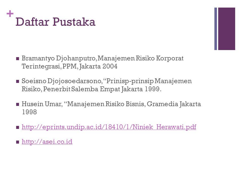 "+ Daftar Pustaka  Bramantyo Djohanputro, Manajemen Risiko Korporat Terintegrasi, PPM, Jakarta 2004  Soeisno Djojosoedarsono, ""Prinisp-prinsip Manaje"