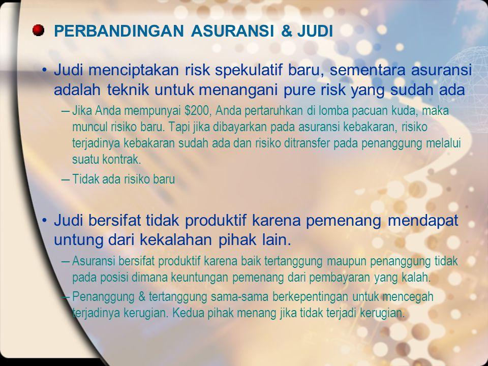 PERBANDINGAN ASURANSI & JUDI •Judi menciptakan risk spekulatif baru, sementara asuransi adalah teknik untuk menangani pure risk yang sudah ada ―Jika A