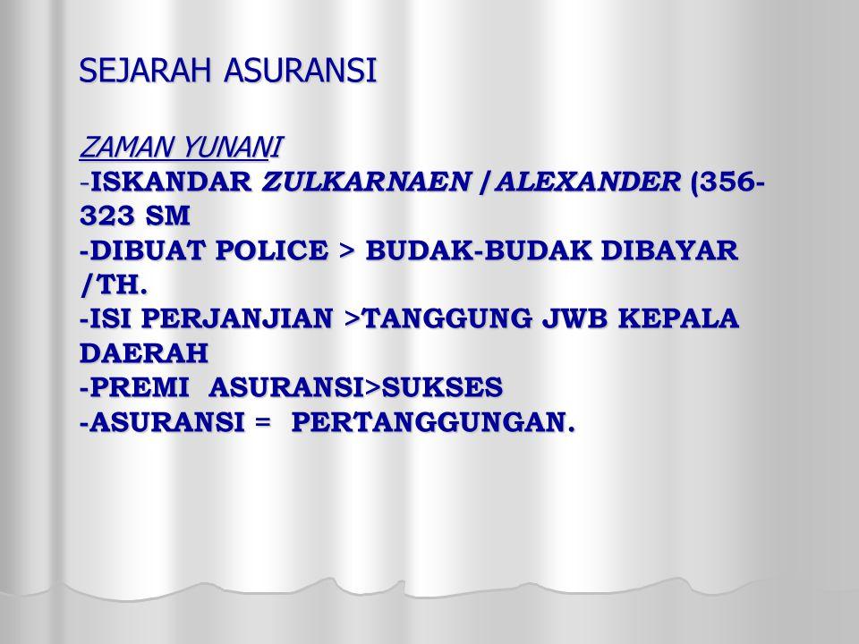 SEJARAH ASURANSI ZAMAN YUNANI -ISKANDAR ZULKARNAEN /ALEXANDER (356- 323 SM -DIBUAT POLICE > BUDAK-BUDAK DIBAYAR /TH.