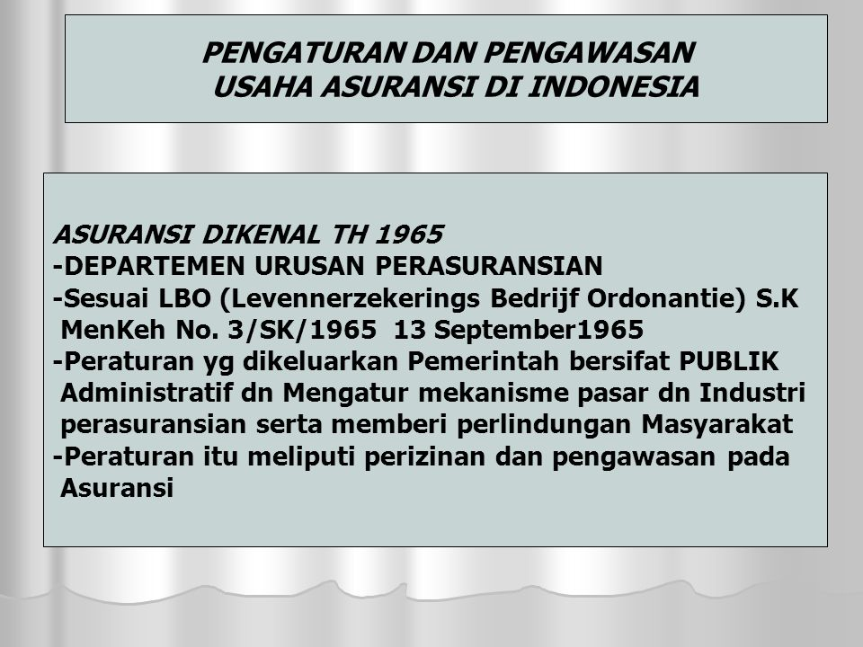 PENGATURAN DAN PENGAWASAN USAHA ASURANSI DI INDONESIA ASURANSI DIKENAL TH 1965 -DEPARTEMEN URUSAN PERASURANSIAN -Sesuai LBO (Levennerzekerings Bedrijf Ordonantie) S.K MenKeh No.
