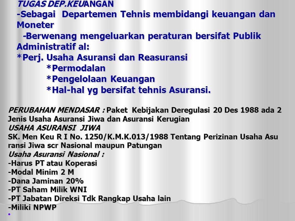 TUGAS DEP.KEUANGAN -Sebagai Departemen Tehnis membidangi keuangan dan Moneter -Berwenang mengeluarkan peraturan bersifat Publik Administratif al: *Perj.