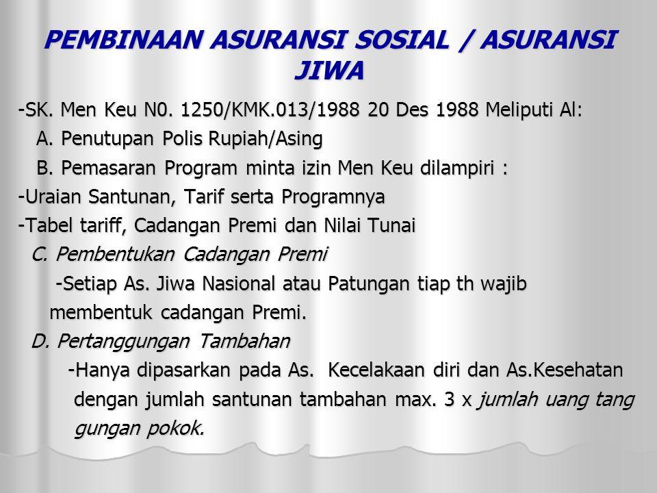 PEMBINAAN ASURANSI SOSIAL / ASURANSI JIWA -SK.Men Keu N0.