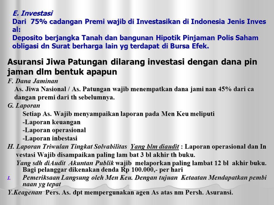 E. Investasi Dari 75% cadangan Premi wajib di Investasikan di Indonesia Jenis Inves al: Deposito berjangka Tanah dan bangunan Hipotik Pinjaman Polis S