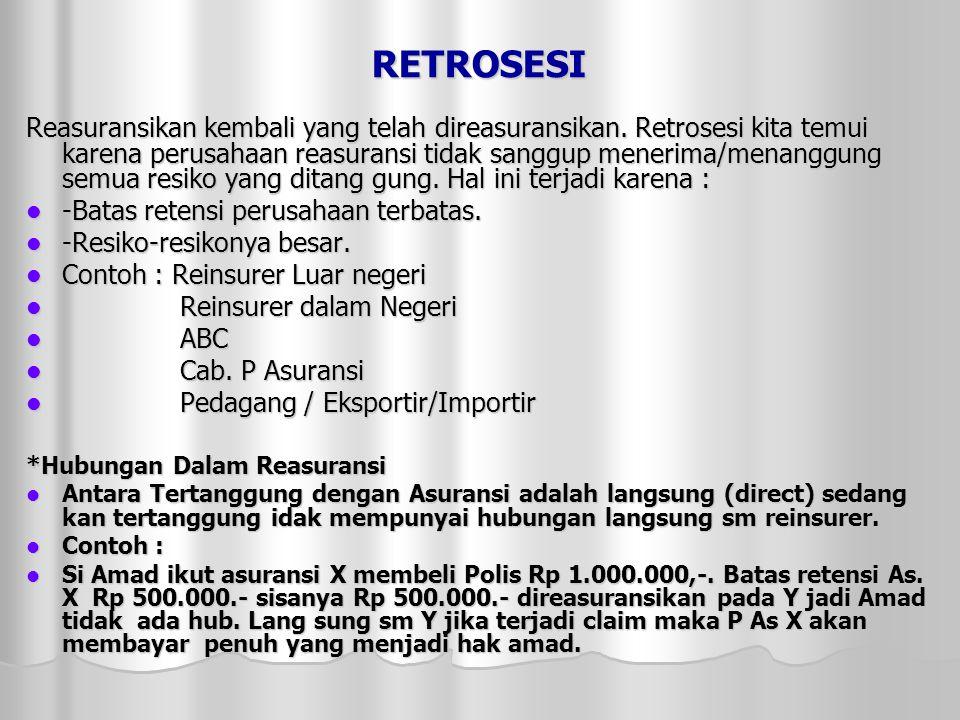 RETROSESI Reasuransikan kembali yang telah direasuransikan.
