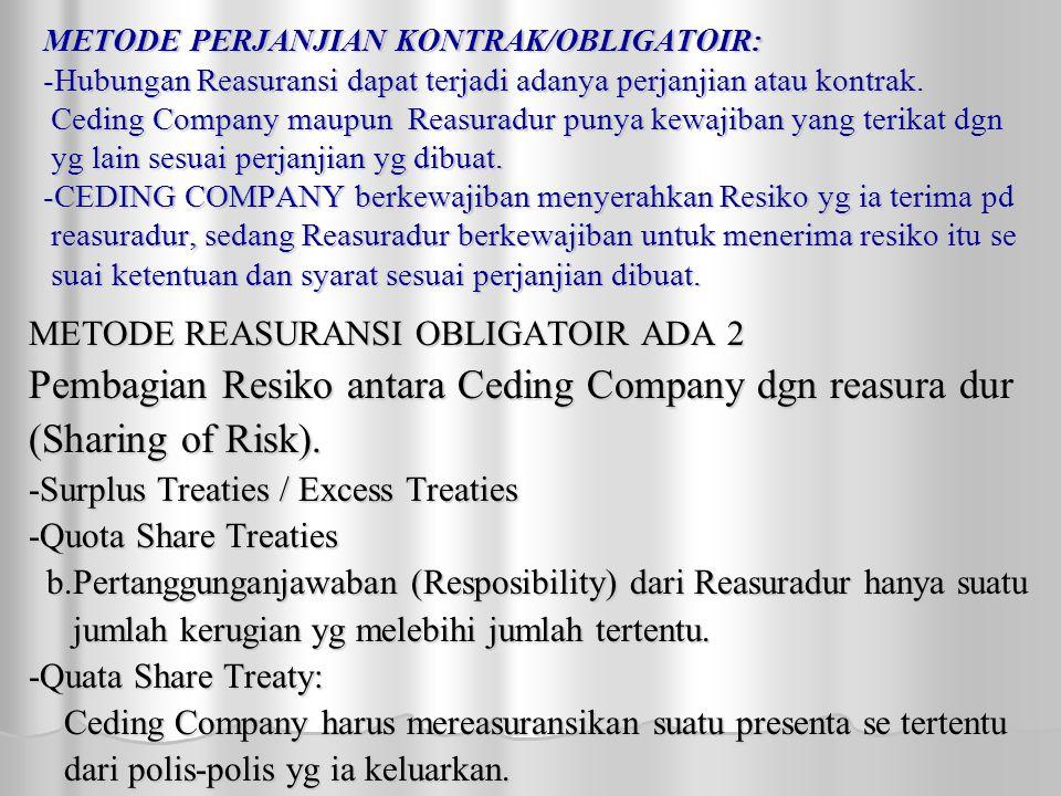 METODE PERJANJIAN KONTRAK/OBLIGATOIR: -Hubungan Reasuransi dapat terjadi adanya perjanjian atau kontrak.