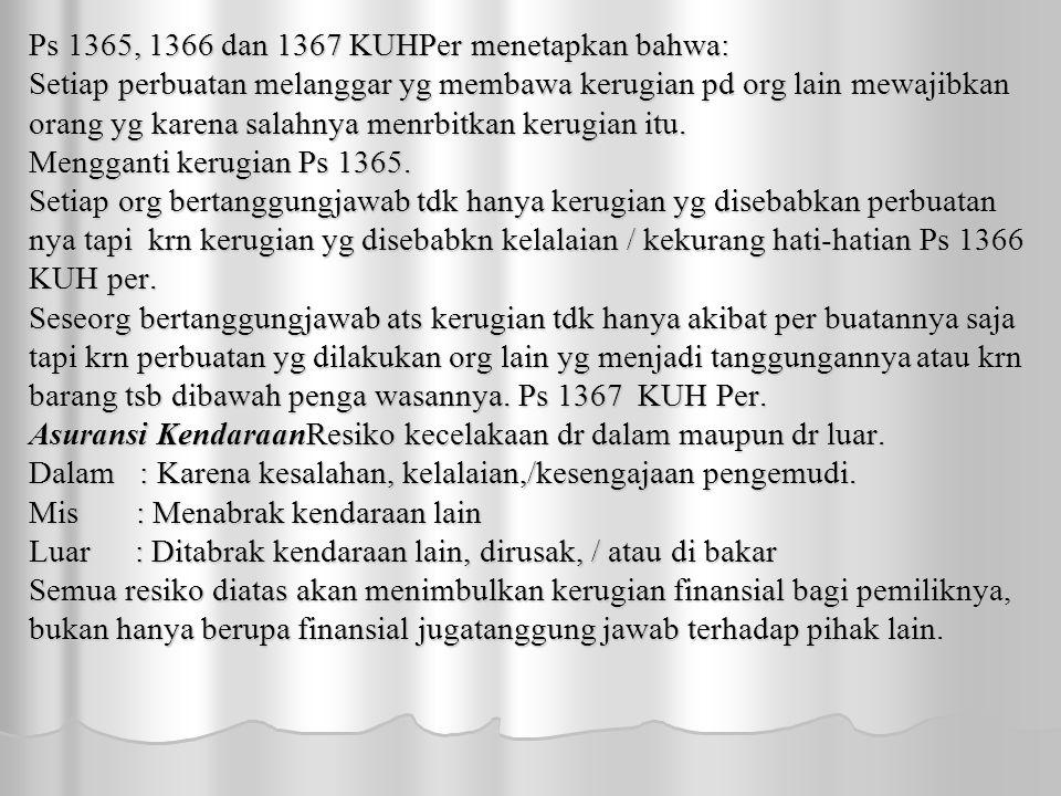 Ps 1365, 1366 dan 1367 KUHPer menetapkan bahwa: Setiap perbuatan melanggar yg membawa kerugian pd org lain mewajibkan orang yg karena salahnya menrbitkan kerugian itu.