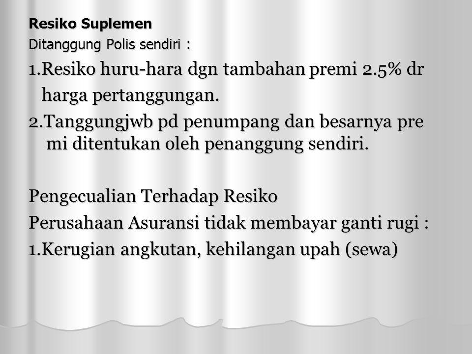 Resiko Suplemen Ditanggung Polis sendiri : 1.Resiko huru-hara dgn tambahan premi 2.5% dr harga pertanggungan.