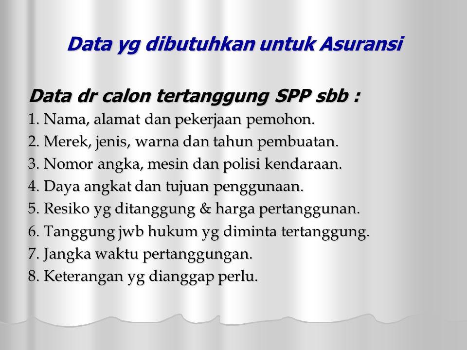 Data yg dibutuhkan untuk Asuransi Data dr calon tertanggung SPP sbb : 1.