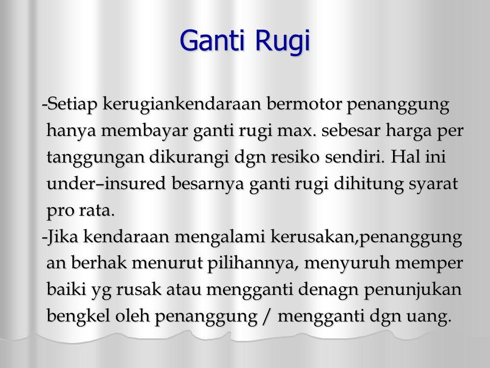 Ganti Rugi -Setiap kerugiankendaraan bermotor penanggung hanya membayar ganti rugi max.