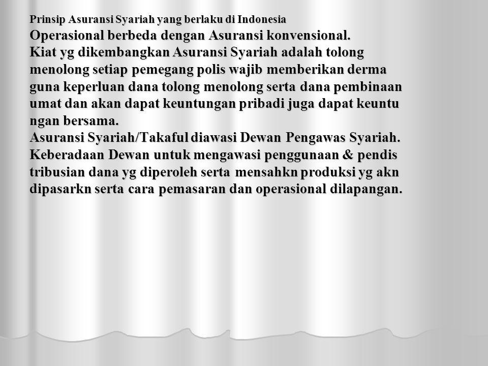 Prinsip Asuransi Syariah yang berlaku di Indonesia Operasional berbeda dengan Asuransi konvensional.