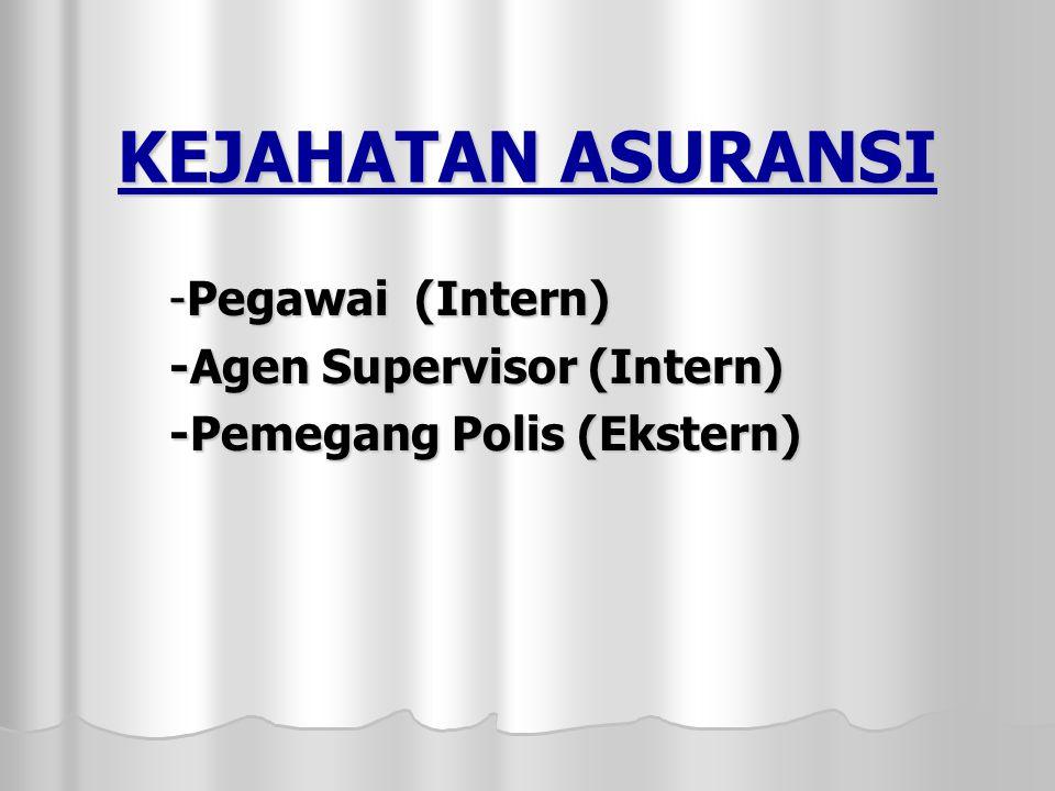 KEJAHATAN ASURANSI -Pegawai (Intern) -Agen Supervisor (Intern) -Pemegang Polis (Ekstern)