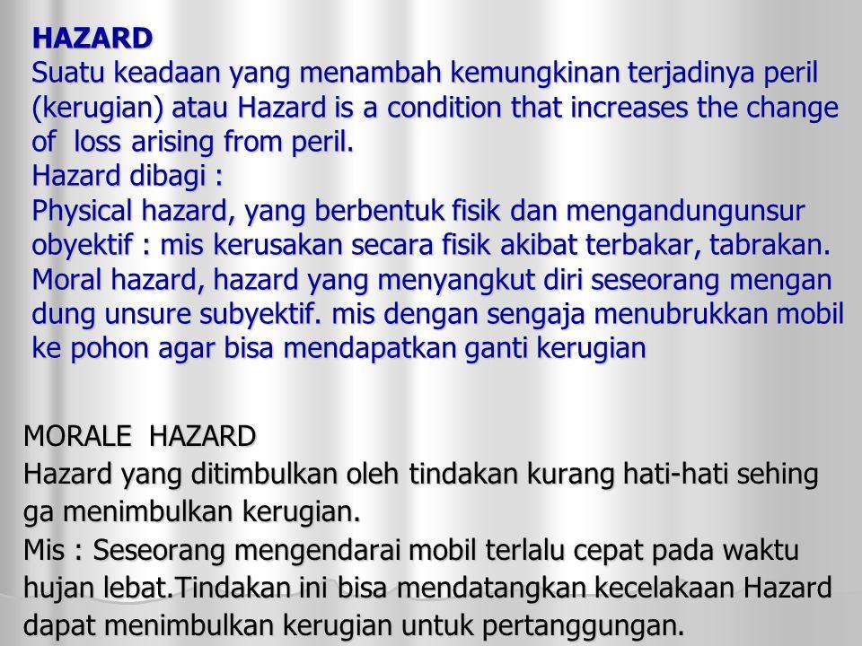 HAZARD Suatu keadaan yang menambah kemungkinan terjadinya peril (kerugian) atau Hazard is a condition that increases the change of loss arising from peril.