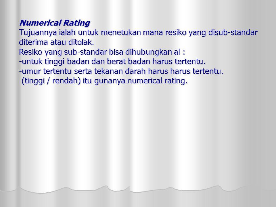 Numerical Rating Tujuannya ialah untuk menetukan mana resiko yang disub-standar diterima atau ditolak.