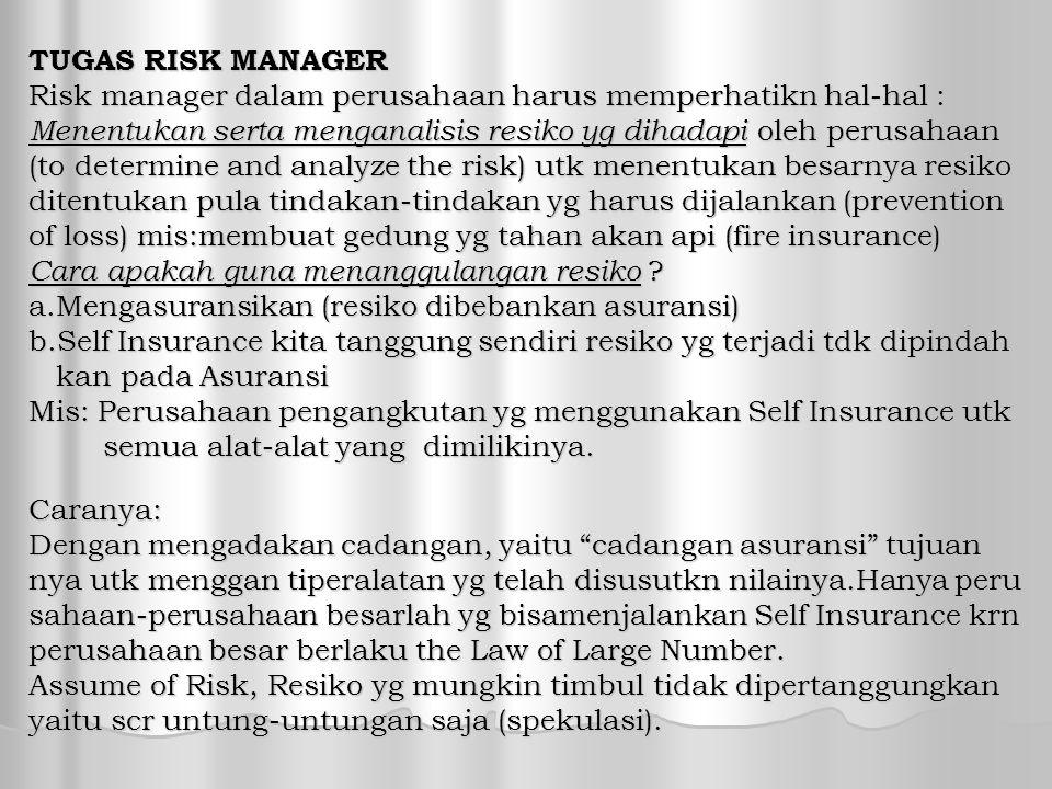 TUGAS RISK MANAGER Risk manager dalam perusahaan harus memperhatikn hal-hal : Menentukan serta menganalisis resiko yg dihadapi oleh perusahaan (to determine and analyze the risk) utk menentukan besarnya resiko ditentukan pula tindakan-tindakan yg harus dijalankan (prevention of loss) mis:membuat gedung yg tahan akan api (fire insurance) Cara apakah guna menanggulangan resiko .