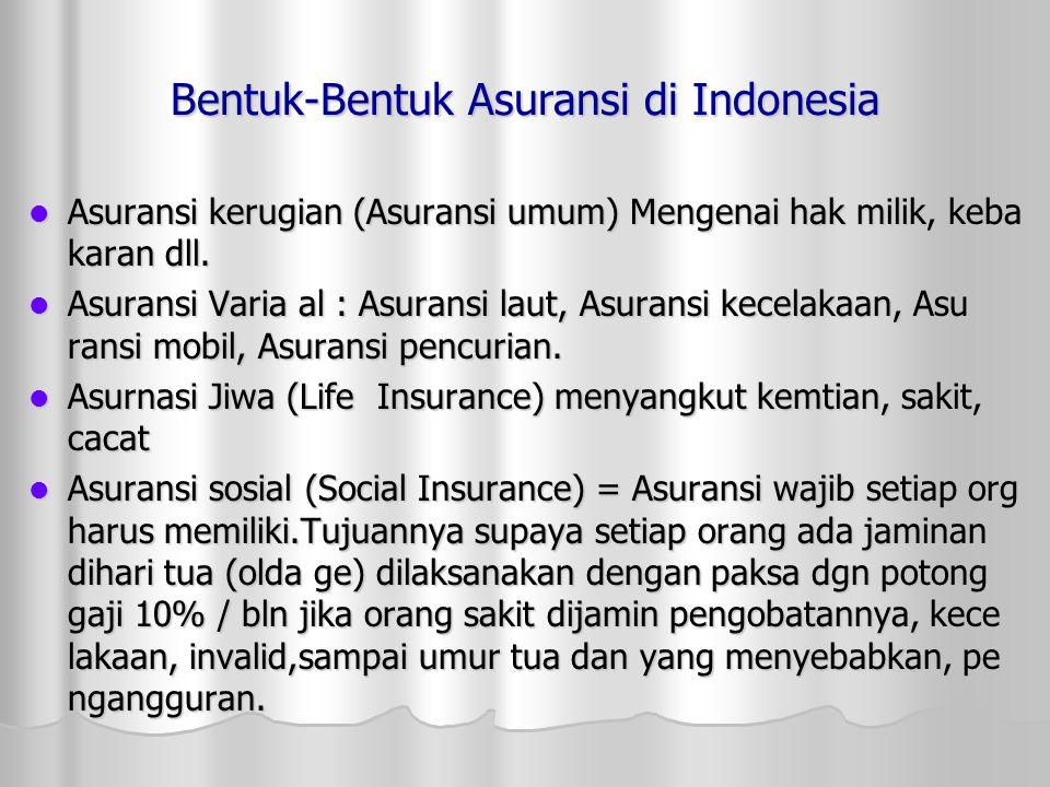 Bentuk-Bentuk Asuransi di Indonesia AAAAsuransi kerugian (Asuransi umum) Mengenai hak milik, keba karan dll.