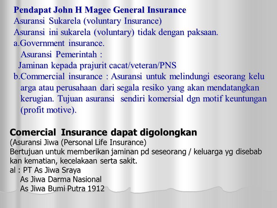 Pendapat John H Magee General Insurance Asuransi Sukarela (voluntary Insurance) Asuransi ini sukarela (voluntary) tidak dengan paksaan.