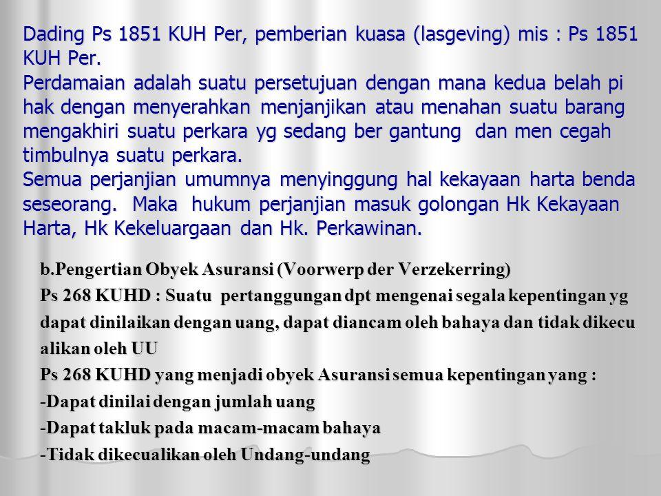 Dading Ps 1851 KUH Per, pemberian kuasa (lasgeving) mis : Ps 1851 KUH Per.