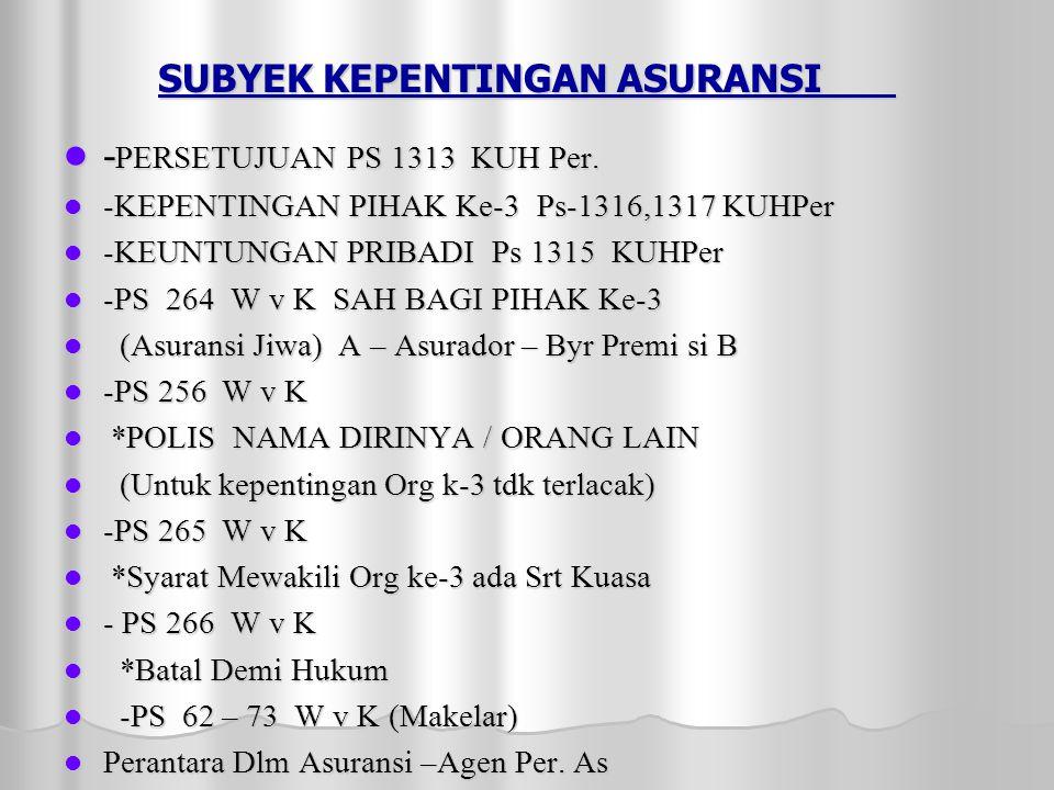 SUBYEK KEPENTINGAN ASURANSI  - PERSETUJUAN PS 1313 KUH Per.