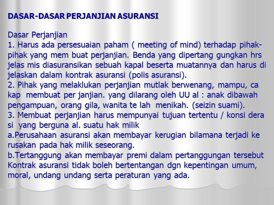 DASAR-DASAR PERJANJIAN ASURANSI Dasar Perjanjian 1.