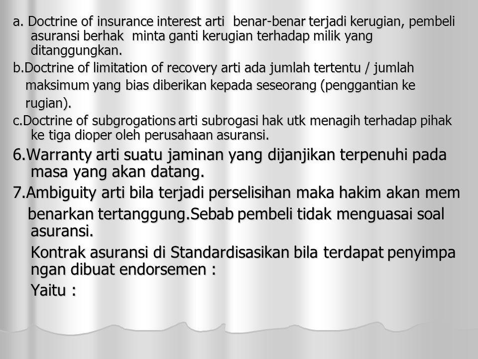a. Doctrine of insurance interest arti benar-benar terjadi kerugian, pembeli asuransi berhak minta ganti kerugian terhadap milik yang ditanggungkan. b