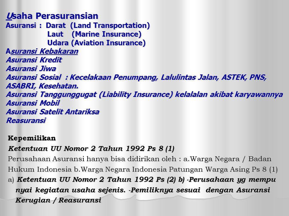 Usaha Perasuransian Asuransi : Darat (Land Transportation) Laut (Marine Insurance) Udara (Aviation Insurance) Asuransi Kebakaran Asuransi Kredit Asuransi Jiwa Asuransi Sosial : Kecelakaan Penumpang, Lalulintas Jalan, ASTEK, PNS, ASABRI, Kesehatan.