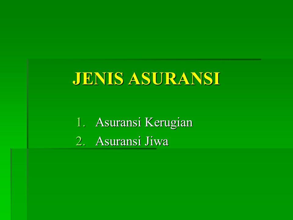 JENIS ASURANSI 1.Asuransi Kerugian 2.Asuransi Jiwa