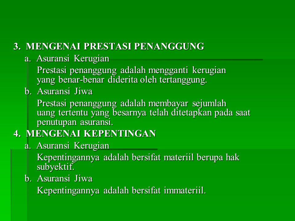 3.MENGENAI PRESTASI PENANGGUNG a.