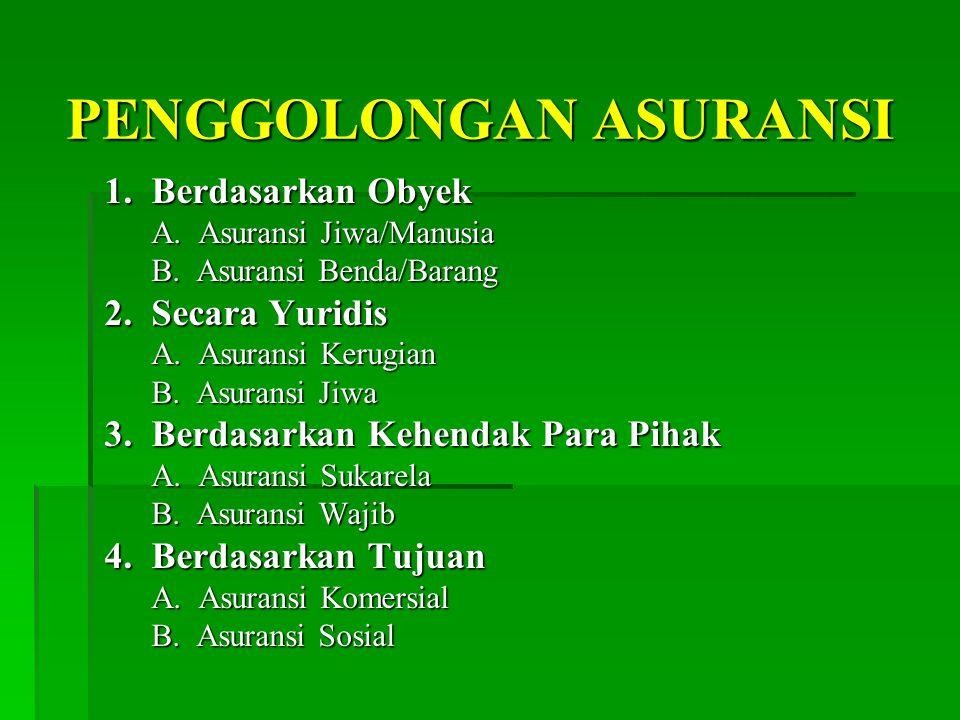 PENGGOLONGAN ASURANSI 1.Berdasarkan Obyek A. Asuransi Jiwa/Manusia B.