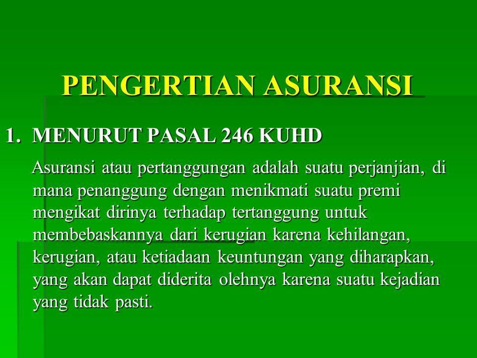 PENGERTIAN ASURANSI 1.