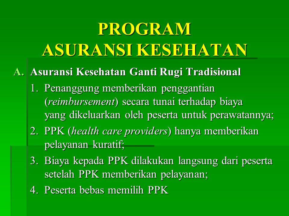 PROGRAM ASURANSI KESEHATAN A.Asuransi Kesehatan Ganti Rugi Tradisional 1.