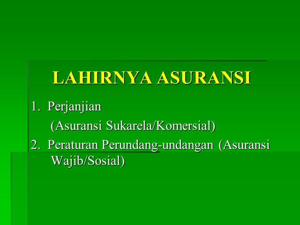 LAHIRNYA ASURANSI 1.Perjanjian (Asuransi Sukarela/Komersial) 2.