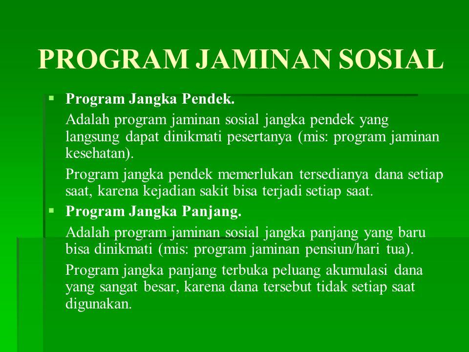 PROGRAM JAMINAN SOSIAL   Program Jangka Pendek.