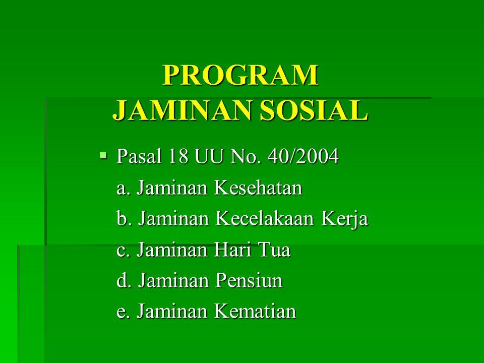 PROGRAM JAMINAN SOSIAL  Pasal 18 UU No.40/2004 a.