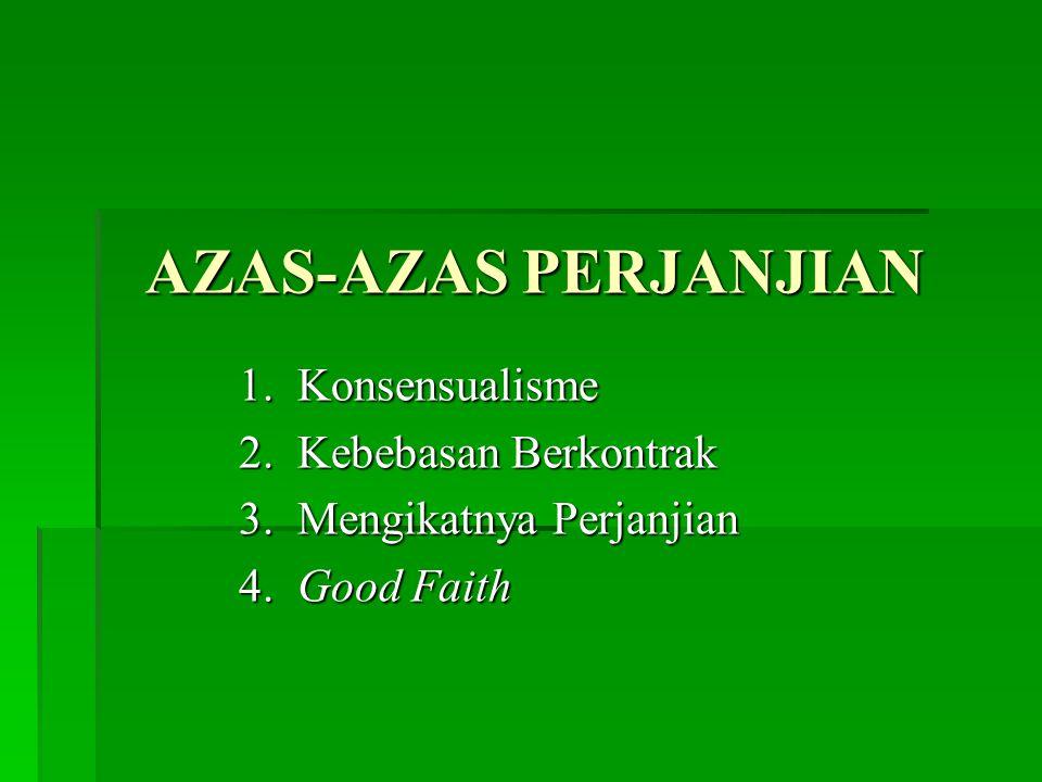 AZAS-AZAS PERJANJIAN 1.Konsensualisme 2. Kebebasan Berkontrak 3.