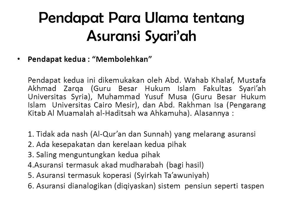 """Pendapat Para Ulama tentang Asuransi Syari'ah • Pendapat pertama : """"Mengharamkan"""" Dikemukakan oleh Sayyid Sabiq, Abdullah al-Qalqii (Mufti Yordania),"""