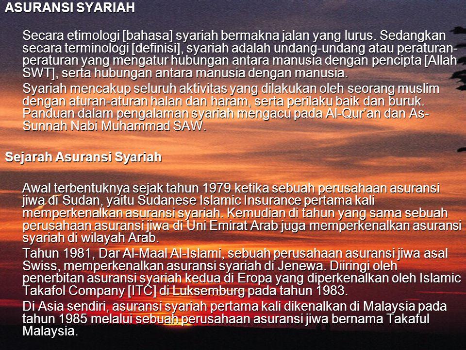 ASURANSI SYARIAH Secara etimologi [bahasa] syariah bermakna jalan yang lurus. Sedangkan secara terminologi [definisi], syariah adalah undang-undang at