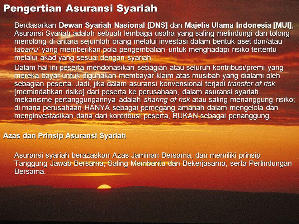 Pengertian Asuransi Syariah Berdasarkan Dewan Syariah Nasional [DNS] dan Majelis Ulama Indonesia [MUI], Asuransi Syariah adalah sebuah lembaga usaha y