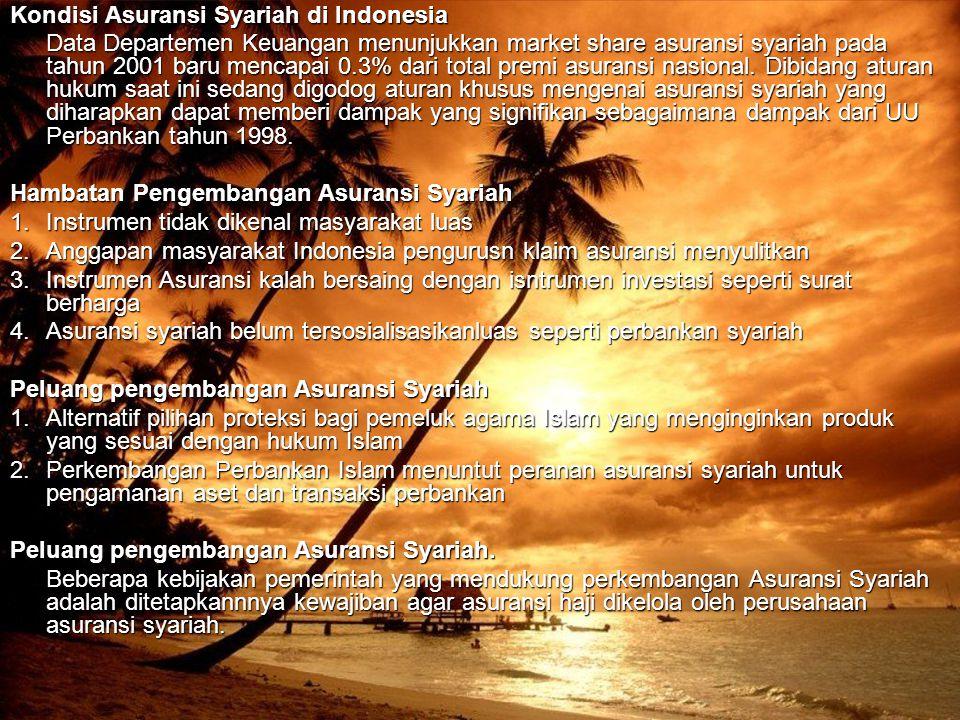 Kondisi Asuransi Syariah di Indonesia Data Departemen Keuangan menunjukkan market share asuransi syariah pada tahun 2001 baru mencapai 0.3% dari total