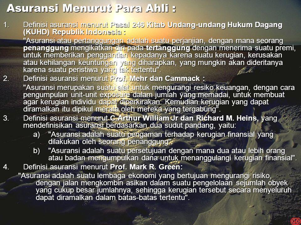 Asuransi Menurut Para Ahli : Asuransi Menurut Para Ahli : 1.Definisi asuransi menurut Pasal 246 Kitab Undang-undang Hukum Dagang (KUHD) Republik Indon