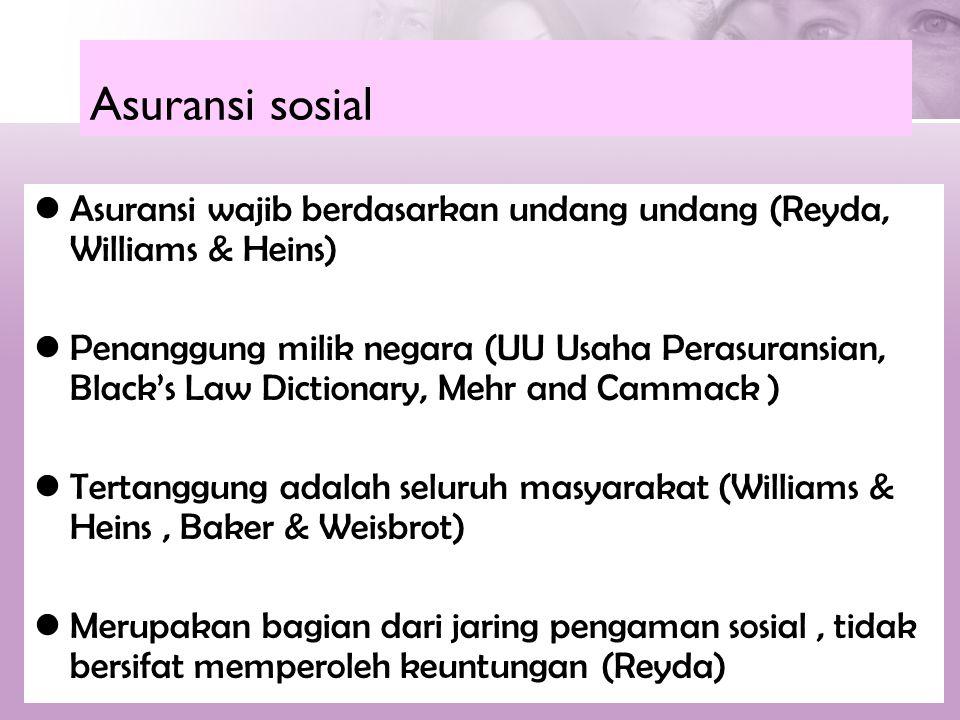 Asuransi sosial  Asuransi wajib berdasarkan undang undang (Reyda, Williams & Heins)  Penanggung milik negara (UU Usaha Perasuransian, Black's Law Di