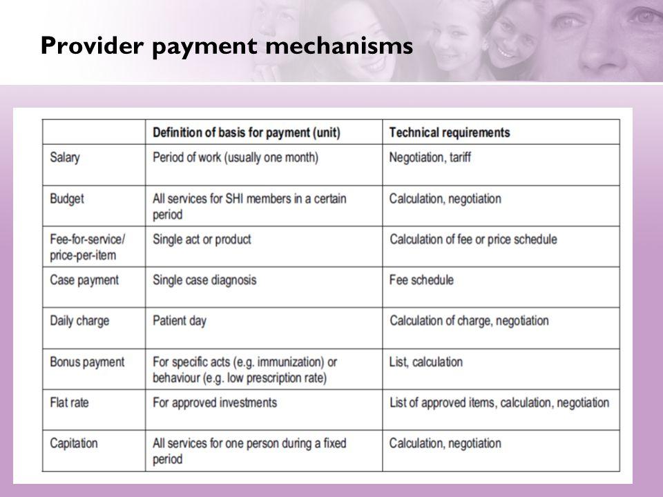 Provider payment mechanisms