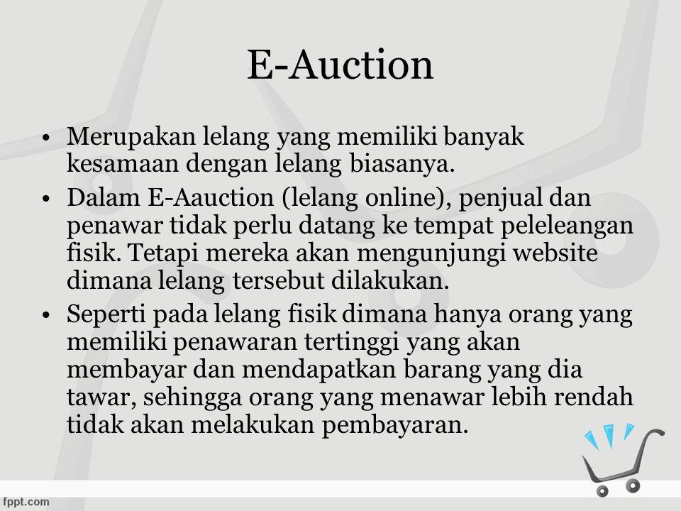 E-Auction •Merupakan lelang yang memiliki banyak kesamaan dengan lelang biasanya.