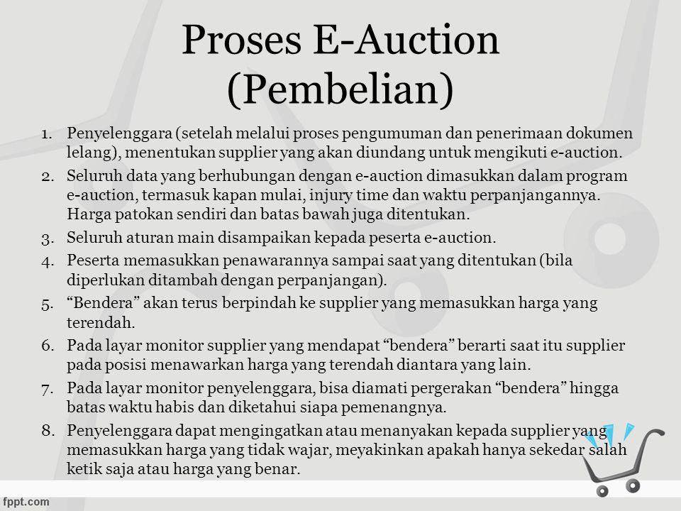 Proses E-Auction (Penjualan) •Proses e-Auction pada transaksi penjualan prinsipnya tidak berbeda dengan e-auction pada transaski pembelian.