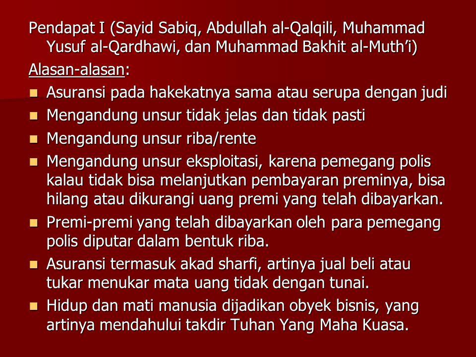 Pendapat II (Abdul Wahab Khallaf, Mustafa Ahmad Zarqa, Muhammad Yusuf Musa, dan Abdurrahman Isa), alasan:  Tidak ada nash al-Qur'an dan hadits yang melarang asuransi  Ada kesepakatan/kerelaan kedua belah pihak.