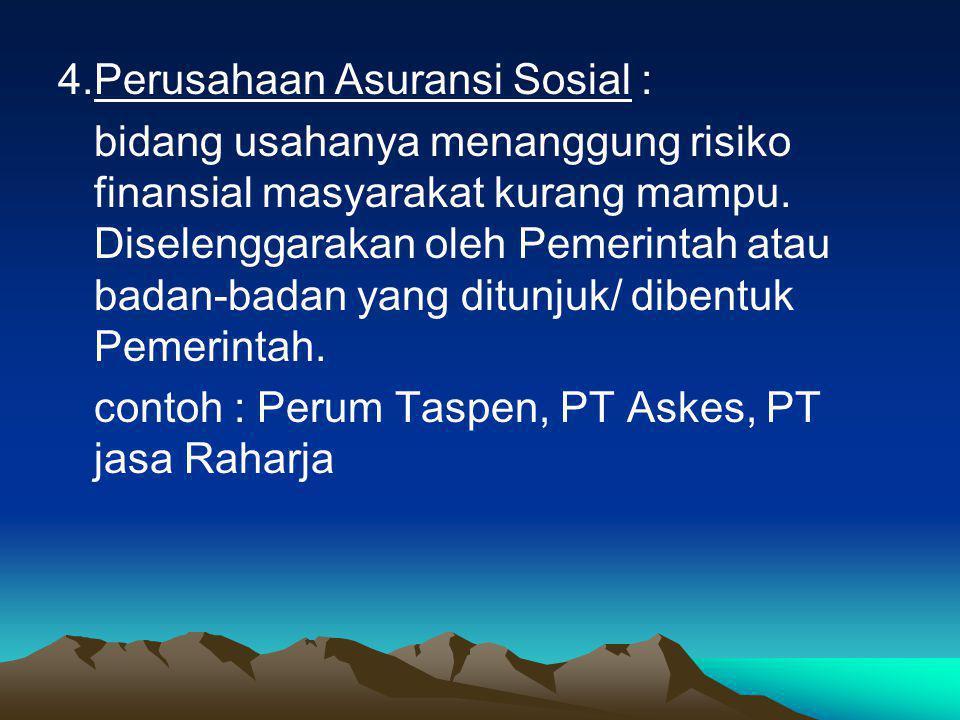 4.Perusahaan Asuransi Sosial : bidang usahanya menanggung risiko finansial masyarakat kurang mampu.