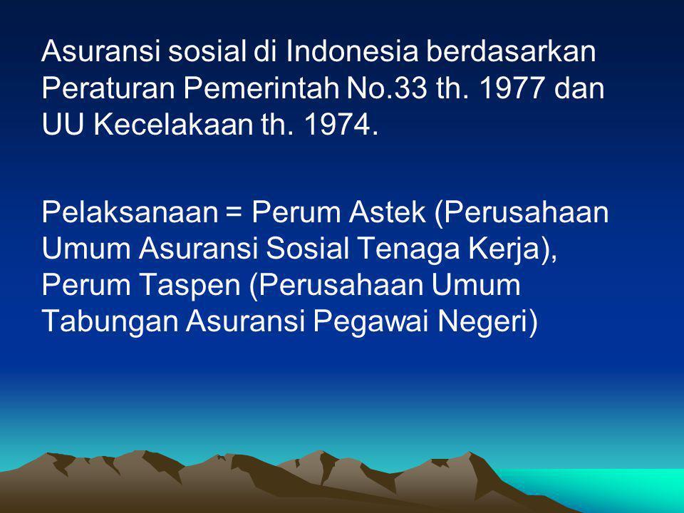 Asuransi sosial di Indonesia berdasarkan Peraturan Pemerintah No.33 th.