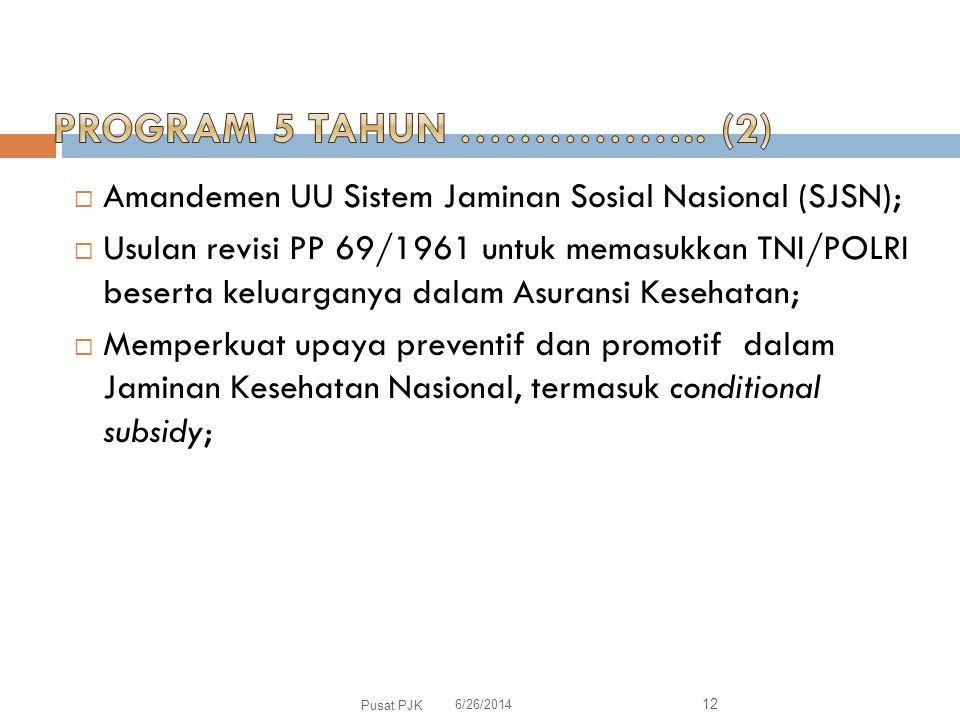  Amandemen UU Sistem Jaminan Sosial Nasional (SJSN);  Usulan revisi PP 69/1961 untuk memasukkan TNI/POLRI beserta keluarganya dalam Asuransi Kesehatan;  Memperkuat upaya preventif dan promotif dalam Jaminan Kesehatan Nasional, termasuk conditional subsidy; 6/26/2014 Pusat PJK 12