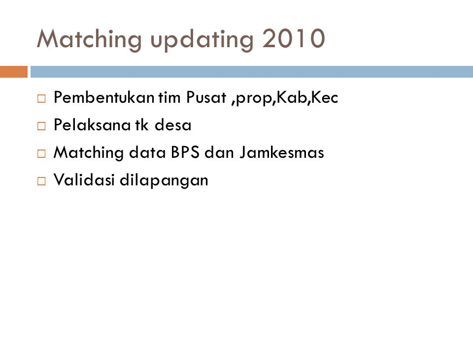 Matching updating 2010  Pembentukan tim Pusat,prop,Kab,Kec  Pelaksana tk desa  Matching data BPS dan Jamkesmas  Validasi dilapangan