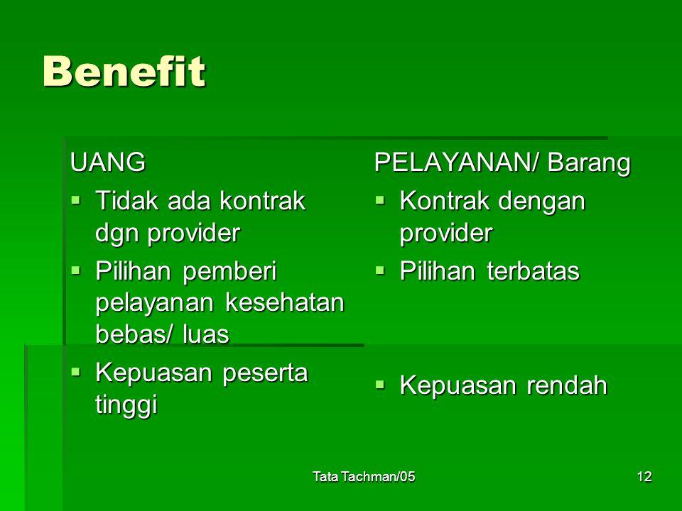 Tata Tachman/0512 Benefit UANG  Tidak ada kontrak dgn provider  Pilihan pemberi pelayanan kesehatan bebas/ luas  Kepuasan peserta tinggi PELAYANAN/ Barang  Kontrak dengan provider  Pilihan terbatas  Kepuasan rendah