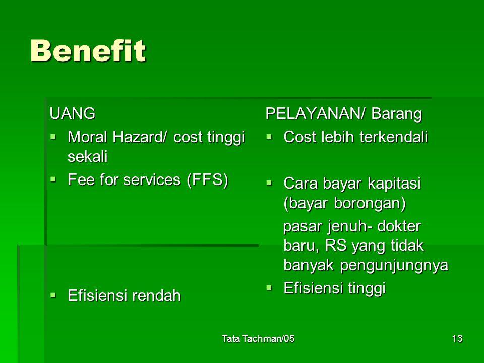 Tata Tachman/0513 Benefit UANG  Moral Hazard/ cost tinggi sekali  Fee for services (FFS)  Efisiensi rendah PELAYANAN/ Barang  Cost lebih terkendal